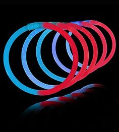 "100 8"" Lumistick Glowstick Bracelets - Bi-Color Red/Blue ..."