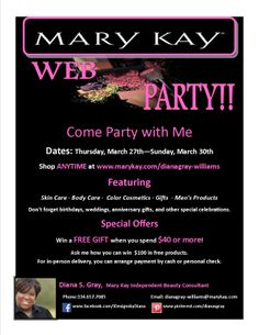 Mary Kay Web Party!! I like this idea to get rid of some of the products that I have =)