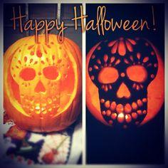 sugar skull pumpkin! definitely wanna do this next halloween.