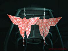 Red Origami Beaded Butterfly Earrings by #AmrcnWldFlwrDesigns on Etsy, $25.00