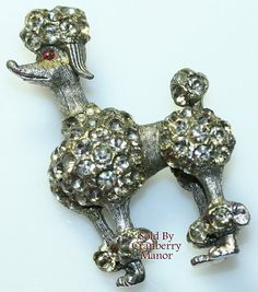 BSK Poodle Brooch, Vintage Silver & Crystal Rhinestone Puppy Dog Animal Figural Pin