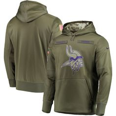 Men s Minnesota Vikings Nike Olive Salute to Service Sideline Therma Performance  Pullover Hoodie 2a57e3415
