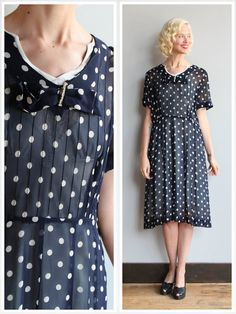 Early 1950s Dress // Sheer Polka Dot Dress // by dethrosevintage