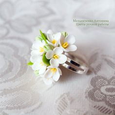 Ring White Lilac Polymer Clay Flowers от SaisonRomantique на Etsy