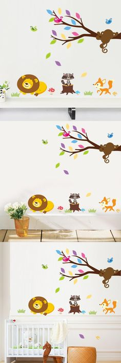 [Visit to Buy] Forest Animals Lion Monkey Tree birds wall stickers for kids room home decor mural art Wall decals children nursery room decor  #Advertisement