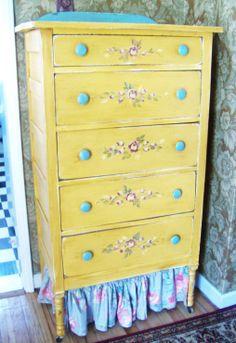 cottage dresser colorful