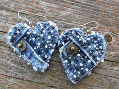 Earring - Heart-Shaped, Recycled Polo Jeans Denim - Hand-Beaded - Upcycled. $15.00, via Etsy.
