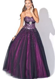 Dark purple or wine colored prom dress with beadings