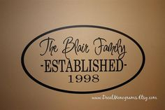 Personalized Oval Family Vinyl Wall Decal by decalmonograms, $20.00