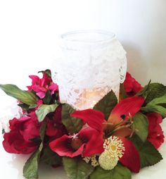 Lace mason jars, a good DIY candleholder