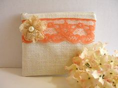 Burlap And Lace Clutch - Burlap Makeup Bag - Coral Lace Clutch - Ivory Burlap Bag - Cosmetic Bag - Rustic Clutch - Bridesmaid Gift by SewSouthwest on Etsy