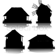 silhouette old house - Google Search