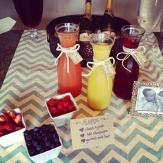 Simple Mimosa Bar | Ours will be non-alcoholic for a baby shower!