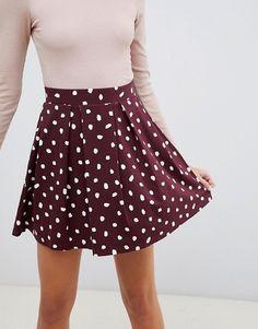 ff3b222344 ASOS DESIGN | ASOS DESIGN mini skirt with box pleats in burgundy spot print  Plissados