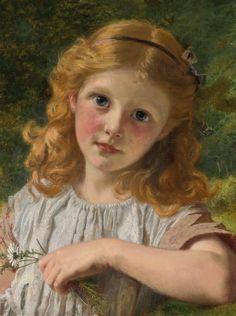 "Sophie Anderson (British, 1823-1903), ""Summer Flowers""."