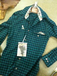Check design on flannel with printed accents