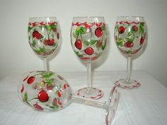 Hand Painted Wine Glasses with Cherries Set of four