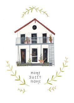 RESERVED for Jennifer V: Custom illustrated house portrait