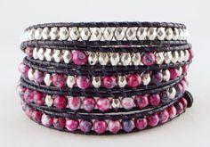 Trendy 5 wikkel wrap armband met (half)edelsteen van Unycq op DaWanda.com