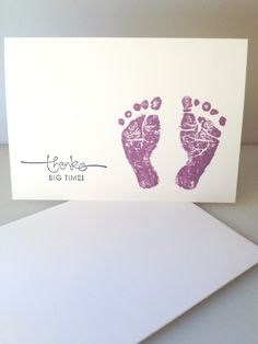 DIY nursery art inspiration foot prints/ hand prints with Name and DOB in pretty cursive Baby Shower Candy, Baby Shower Purple, Baby Shower Prizes, Purple Baby, Baby Shower Gender Reveal, Baby Shower Gifts, Baby Gifts, Foot Prints, Hand Prints