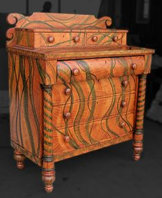 EMPIRE CHEST OF DRAWERS - chest of drawers. Two color grain finish-