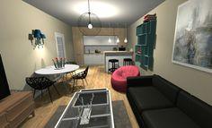 Projekt. M2. #salon #kuchnia #anekskuchenny