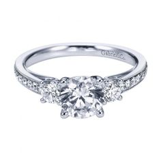 ENGAGEMENT - 1.45cttw 3-Stone Plus Diamond Engagement Ring With Bead Set Side Diamonds