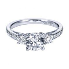 ENGAGEMENT - 1.45cttw 3-Stone Plus Diamond Engagement Ring With Bead Set Side Diamonds