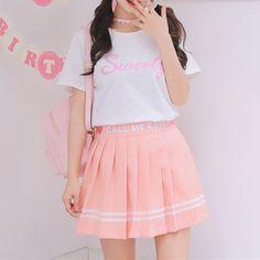 dc0c619276a20 White Deep Pink Call Me Cute Pleated Skirt SP179856. Harajuku FashionKawaii  FashionPastel FashionGirl ...