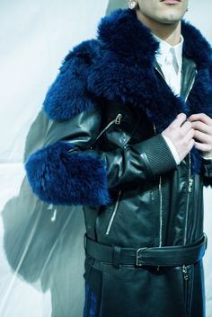 Blue teddy bear fur and black leather backstage at Hood By Air AW15 at Pitti Uomo. See more here: http://www.dazeddigital.com/fashion/article/23218/1/hood-by-air-aw15-arca-soundtrack-stream