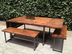 Handmade Wood and Galvanized Pipe Drop-Leaf Table and Bench Set