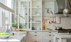 Love the sliding glass cabinet! //sliding glass cabinet + subway tile + stainless steel swing-arm lights + white palette in classic kitchen by Deulonder Sliding Cabinet Doors, Glass Kitchen Cabinet Doors, Kitchen Wall Cabinets, Glass Front Cabinets, Glass Doors, Kitchen Cupboard, Upper Cabinets, Cupboard Doors, White Cabinets