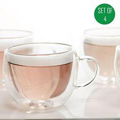 Tealyra - Universe Double Wall Glass Tea & Coffee Cups wi...
