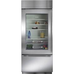 Ordinaire Subzero Stainless Steel Built In Glass Door Over And Under Refrigerator Pro  Handle