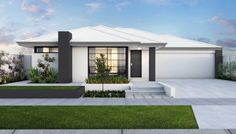 Modern elevation with striking rendered facade, feature pier and Colorbond roof