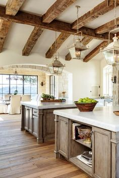 Stunning rustically elegant kitchen interior design in a French Country Provençal Gustavian Style Home. #kitchen #frenchcountry #provence #provencal #nordicfrench #gustavian #rustic