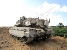 Merkava Mk 4 with APS Trophy - rear view. Small antennas on the corners of the hull are position indicators, which are helping driver to maneuver in rough terrain