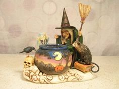 Jim Shore Witch Cauldron Tealight Halloween Heartwood Creek 2006 C4006317