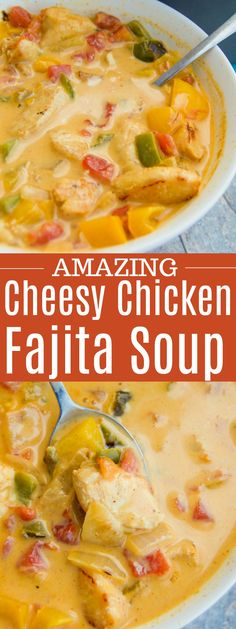 Cheesy Chicken Fajita Soup - Recipes to try this week - - Suppe Rezepte - Fajitas Recipes Chili Recipes, Mexican Food Recipes, Crockpot Recipes, Cooking Recipes, Quick Soup Recipes, Casserole Recipes, Fajita Soup Recipe, Chicken Fajita Soup, Cheesy Chicken Tortilla Soup