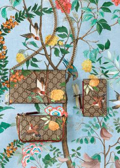 Natural Perspective: Taking inspiration from 18th century Chinese tapestries, the exclusive Tian print flourishes over a new accessories collection. Plants, insects and birds artistically take over the iconic GG motif in a lineup of bags, shoes and silks.