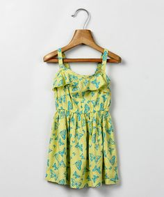 Look what I found on #zulily! Yellow & Green Butterfly Sundress - Infant & Girls #zulilyfinds