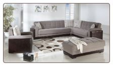 Roma 3 Pcs Sectional Set in Cansas Fume Fabric - Sunset Furniture-Istikbal