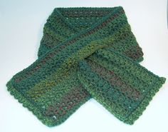 Crochet Scarf, Green, Keyhole Scarflette - Soft, Dark Moss with Subtle ...