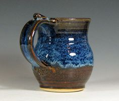 Mug coffee ceramic glazed in brown and blue tea by hughespottery