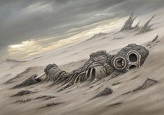 The partly mummified remains of an ancient warrior, uncovered by one of the fierce dust storms that howl across the Bone Desert. Dead King, Post Apocalyptic Art, Outside Lands, Apocalypse Art, Dystopian Future, Concept Art, Horror, Scenery, Lion Sculpture