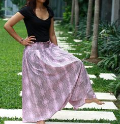Women Harem Pants in Pink and Grey / Tribal Harem Pants / Pink and Grey Maxi Skirt / Summer Skirt