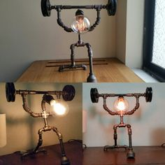 how to make a pipe lamp Industrial Pipe, Industrial Lighting, Vintage Lighting, Light Fittings, Light Fixtures, Lampe Tube, Tube Acier, Pipe Lighting, Diy Pipe