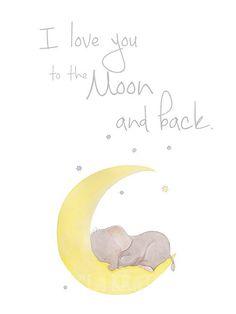 Elephant Nursery Art,Stars Nursery Art,Moon Nursery Art,Nursery Typography Art,Elephant Stars Moon Nursery,Stars Typography,Moon Typogtaphy