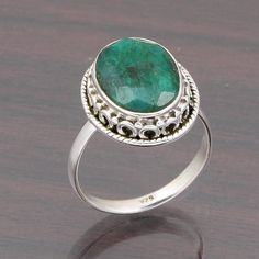 FOR SELL 925 SOLID STERLING SILVER EMERALD GEMSTONE RING 4.50g DJR4656 #Handmade #Ring