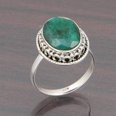 FOR SELL 925 SOLID STERLING SILVER EMERALD GEMSTONE RING 4.50g DJR4656 #Handmade #Ring